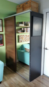 ARMOIRE, SOFABED, BOOKCASE, SWIVEL STOOLS