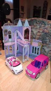 Chateau Barbie et voitures, caravane Barbie