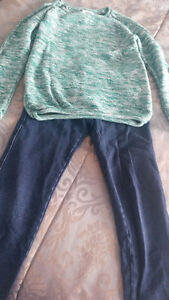 Green Old Navy Cotton Sweater and Joe Fresh Jeans,Size 8