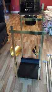 Brass wood basket, rack & fireplace tools