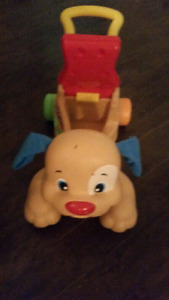 Baby interactive ride or walk and push toy dog