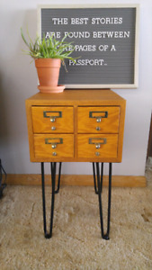 Beautiful 4 drawer library card catalogue side table