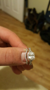 .10CCTTW white sapphire engagement ring with band to match