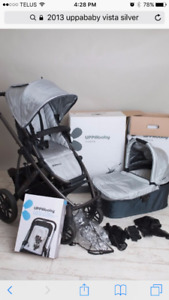 2013 Uppababy Vista System in silver grey w/ Peg Perego adapter