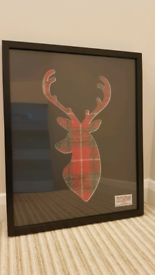Stag mount frame with Harris tweed