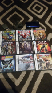 Nintendo DS Lite, Charger, 9 Games
