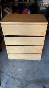 IKEA MALM 4-drawer chest, white stained oak veneer