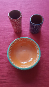 Pottery, 2 tequila glass and small dish
