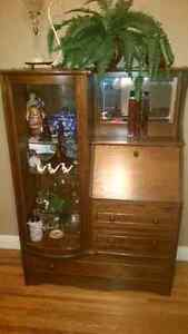 Solid Oak Antique Secretary Desk & Curio Cabinet