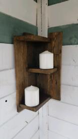 Rustic corner shelf (3 shelves) made from reclaimed wood