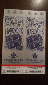 2 Tickets Maple Leafs vs Panthers March 28th -  Face Value Reds