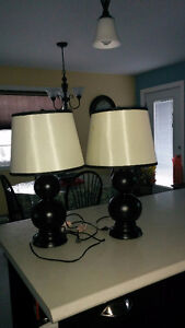 2 Black and White Table Lamps For Sale