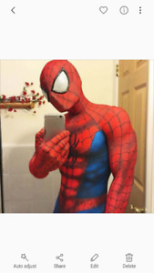 Mens med spiderman costume with faceshell.