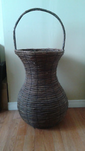 Large wicker planter and small chair planter