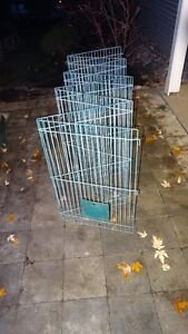 Folding Pet Pen - Light Blue Metal Wire, 8 Sections of 29 x 19