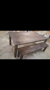 Rustic look solid wood dining table
