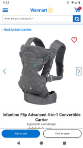 Infantino Flip Advanced 4-in-1 Convertible Carrier - used