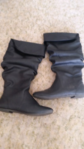 Size 7.5 wide calf black faux leather boots