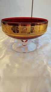 Vintage Red Glass Footed Candy Dish with Gold Trim