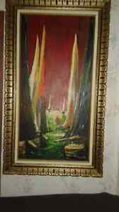Vintage  Oil Painting Red sky sailboats Sea  Dawn