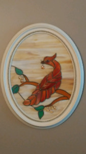 Vintage stained glass wall hanging
