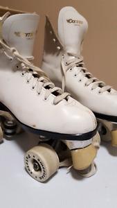 Precision leather roller skates