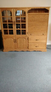 OAK WITH FRENCH DOORS AND ROLLTOP ENTERTAINMENT CENTRE