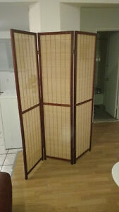 paravent en bois et bambou