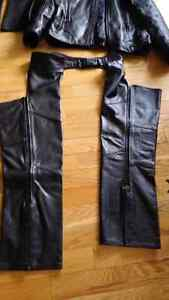 Motorcycle leather coat , chaps and travel luggage