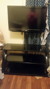 TV and glass TV stand