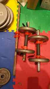 Weights, dumbells, barbell.