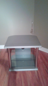 Gray and silver TV stand