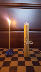 20 Handmade 100%Organic Natural Pure Beeswax Thin Church Candles