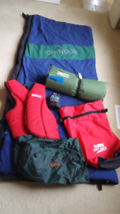 Sleeping Bag, Thermarestpad,life vest, dry sacs & camping gear