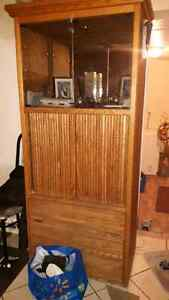 Wooden Oak China Cabinet with working light up in glass