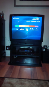 "27"" RCA with cabinet stand"