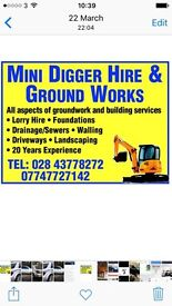 Groundwork and mini digger and lorry hire