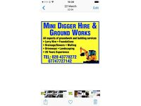 Operated mini digger and lorry hire