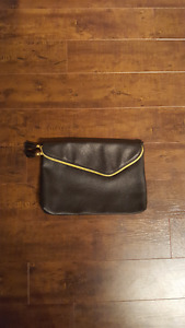 Large Black Clutch - Fold Over Clasp