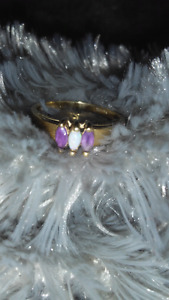 10K Gold, Genuine amethyst and opal ring