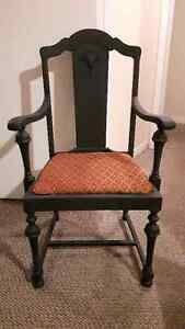 NICE ANTIQUE SOLID WOOD CHAIR, REFINISHED with BLACK CHALK PAINT Cambridge Kitchener Area image 1