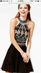 Junior's 2 pc Embellished Halter Fit and Flare