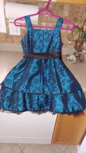 Blue and black flower dress sz 8