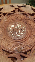 Hand-Carved Solid Indian Rosewood Center Side Folding Table