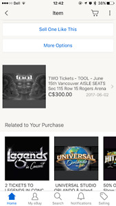 2 electronic Tool tickets Vancouver, June 15