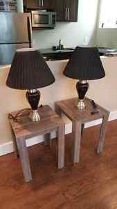 Coffee Table, 2 End Tables, 2 Lamps, 4 Folding Chairs