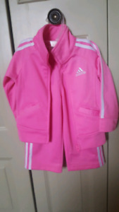 Pink Adidas sport track suit jacket and pants 12-18m