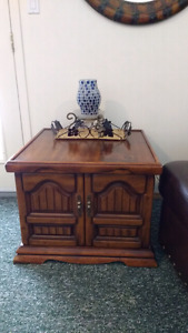 Wood End Table/Night Stand w Ornate Metal Handles