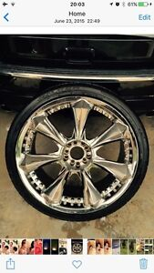 """22"""" chrome wheels and tires"""