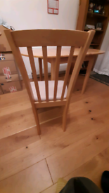 Extendable pine table and chair set